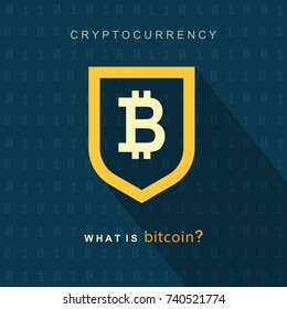 Bitcoin concept. Cryptocurrency logo sigh. Digital money. Block chain, finance symbol. Flat style vector illustration