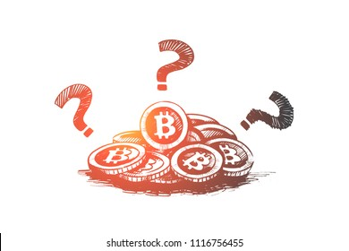 Bitcoin concept. Hand drawn bitcoin cryptocurrency and question mark, digital currency isolated vector illustration.