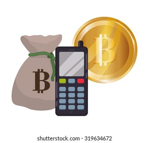 Bitcoin concept and technology icons design, vector illustration 10 eps graphic.