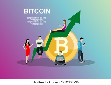 Bitcoin concept vector illustration of young people using laptop and smartphone for online funding and making investments for bitcoin and blockchain. Flat design of new technology