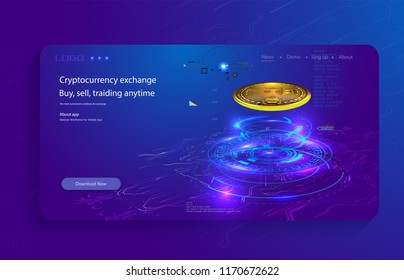 Bitcoin conceptual background with blue glowing electric lights in style hud. Modern bright banner, site template with place for your text.