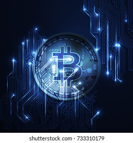 Bitcoin conceptual background with blue glowing electric lights.