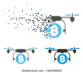 Bitcoin copter icon in dissolved, dotted halftone and whole versions. Pixels are organized into vector disappearing Bitcoin copter icon. Disappearing effect uses square scintillas.