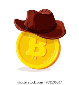 Bitcoin in cowboy hat. Cartoon digital currency. Gold cryptocurrency. Money and finance symbol. Miner bit coin criptocurrency. Vector illustration