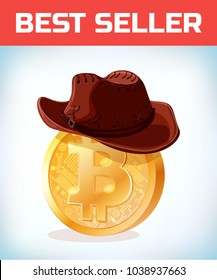 Bitcoin in cowboy hat. Bitcoin. Digital currency. Crypto currency. Money and finance symbol. Miner bit coin criptocurrency. Virtual money concept. Cartoon Vector illustration.