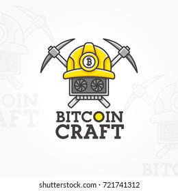 Bitcoin Craft logo, emblem, label. Vector illustration.