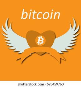 Bitcoin Cripto currency blockchain. Bitcoin flat logo on orange background. Bitcoin in heart with wings