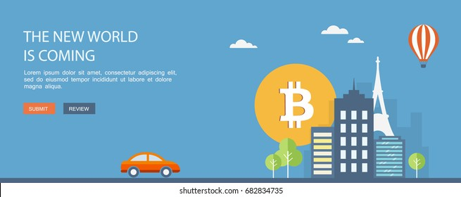 Bitcoin criptocurrency concept. Flat banner. Eps10