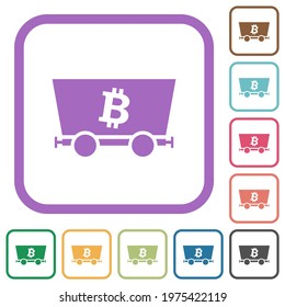 Bitcoin criptocurrency mining simple icons in color rounded square frames on white background
