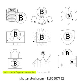 Bitcoin & crypto currencies icons set. Thin line style