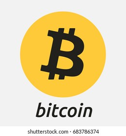 Bitcoin crypto currency blockchain flat logo a colored triangular background. Block chain bitcoin sticker logo for web or print.