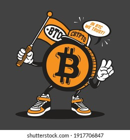 Bitcoin Crypto Currency Character Design Mascot