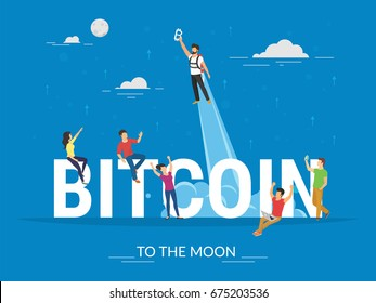 Bitcoin crypto currency growing concept vector illustration of young people celebrating of bitcoin growth. Flat design of new blockchain technology start and positive progress to the moon