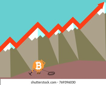 Bitcoin crypto currency growing concept vector illustration. Bitcoin caracter with pick axe an mountains. Increase graph in the air.