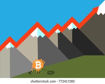 Bitcoin crypto currency growing concept vector illustration. Bitcoin caracter with pick axe an mountains. Increase graph