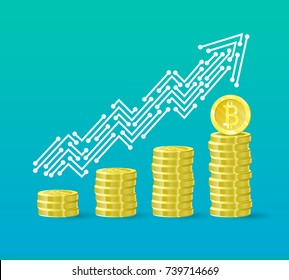 Bitcoin crypto currency growth chart of the financial system is growing. Bitcoin course. The line of the upward trend arrow in the form of tracks on the board. Vector illustration