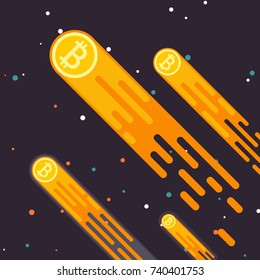 Bitcoin Crypto currency growth is a drop in the digital currency. Bitcoin Lift the concept in a flat style. The rate of bitcoin earnings is mining. Vector illustration