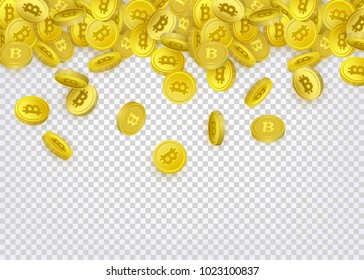 Bitcoin, cryptocurrency banner, flyer template with many golden coins falling down, vector illustration on background. Bitcoin banner template - coins with capital letter B sign falling down