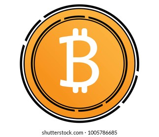 Bitcoin cryptocurrency blockchain flat logo Block chain bitcoin sticker logo for web or print.