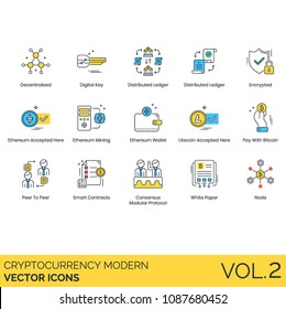 Bitcoin, cryptocurrency, blockchain vector icon set. Decentralized, digital key, distributed ledger, mining, wallet, litecoin, peer p2p, smart contract, consensus modular protocol, white paper, node.