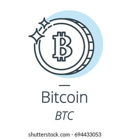 Bitcoin cryptocurrency coin line, icon of virtual currency