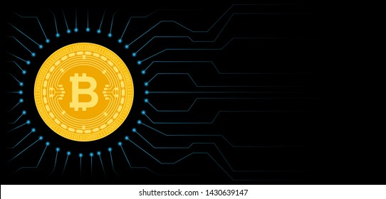 Bitcoin cryptocurrency coin symbol. Blockchain technology. Gold Bitcoin on black circuit board background. Vector illustration