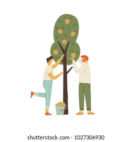 Bitcoin cryptocurrency concept illustration of men and women harvesting btc from the tree. Funny flat characters in vector illustrated blockchain mining.