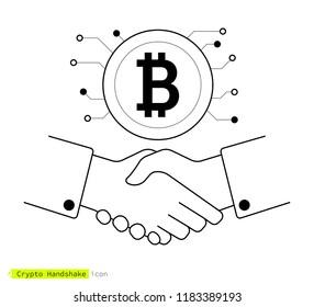 Bitcoin crypto-currency handshake. Thin line icon