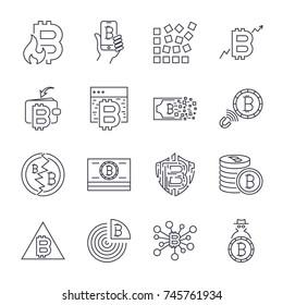 Bitcoin, Cryptocurrency icons: thin monochrome icon set, black and white kit. Editable Stroke