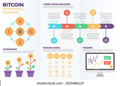 Bitcoin cryptocurrency infographic elements with illustrations and icons for data report  and information presentation