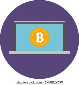 Bitcoin, Cryptocurrency, Laptop Icon. Business Icon Set Vector Logo Symbol.