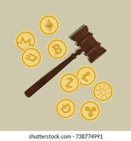 bit-coin crypto-currency law concept of legal regulation judicial system coin currency digital gavel wooden hammer