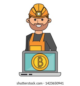Bitcoin cryptocurrency mining from laptop with worker cartoon vector illustration graphic design