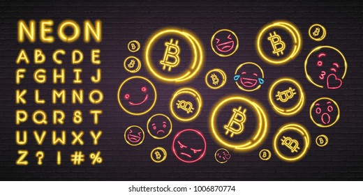 Bitcoin Cryptocurrency Neon Light Glowing with Emoji Symbols Symbol. Alphabet Set Neon Yellow Light