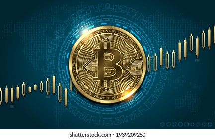 Bitcoin currency. Bit coin with growth chart. Stock exchange of BTC