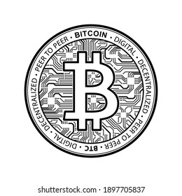 Bitcoin currency crypto coin icon. International stock exchange. Network bitcoin marketing vector banner sign vector illustration