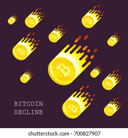 Bitcoin declined this week. Vector flat illustration with blockchain technology based crypto currency. Financial or technology concept. Virtual money