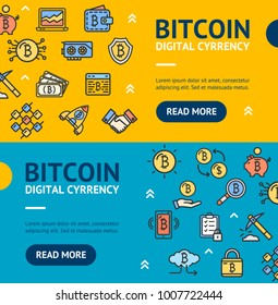 Bitcoin Digital Currency Banner Horizontal Set with Color Outline Icons Electronic Coin. Vector illustration of Virtual Crypto Finance