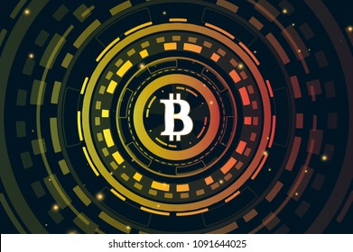 Bitcoin digital currency. Futuristic digital money for your concept design. Touch the future