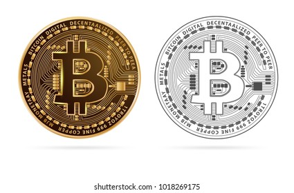 Bitcoin digital currency golden coin isolated on white background. Vector illustration