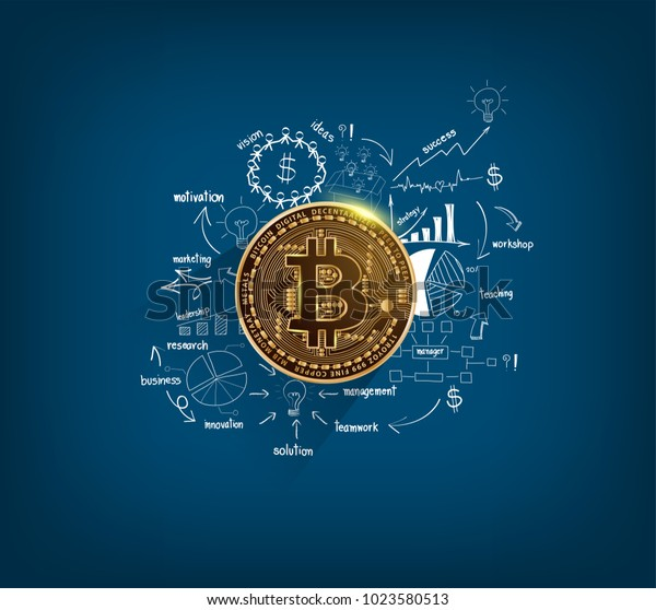 Bitcoin Digital Currency Golden Coin On Stock Vector