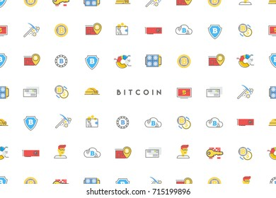 Bitcoin digital money, cryptocurrency system and mining pool. Flat modern vector pattern.