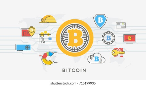 Bitcoin digital money, cryptocurrency system and mining pool. Line modern vector illustration.