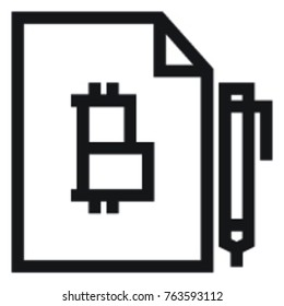 Bitcoin distributed ledger simple line icon. Account book vector illustration. Finance management and blockchain technology. Isolated on white background. Cryptography and cryptocurrency flat design.