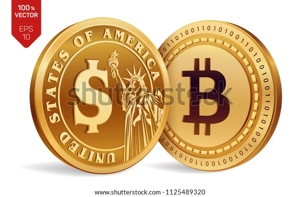 Bitcoin. Dollar coin. 3D isometric Physical coins. Digital currency. Cryptocurrency. Golden coins with Bitcoin and Dollar symbol isolated on white background. Vector illustration.