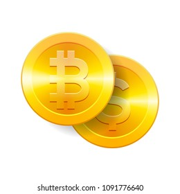 Bitcoin to dollar currency exchange. Bitcoin. Dollar coin. Cryptocurrency. Golden coins with Bitcoin and Dollar symbol, vector illustration.