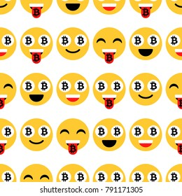 Bitcoin emoji, emoticons or smile. Emotional icons and signs, seamless pattern. Vector