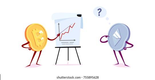 Bitcoin and etherum with a flipchart. Vector cartoon illustration.