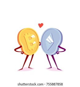 Bitcoin and etherum are friends. Vector cartoon illustration.