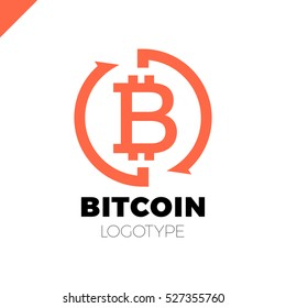 Bitcoin Exchange logo. Letter B in circle with two arrow logotype
